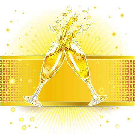 bollicine champagne: due bicchieri tintinnanti di champagne su sfondo colorato Vettoriali