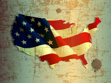 map of usa: grunge of United States or USA map and flag