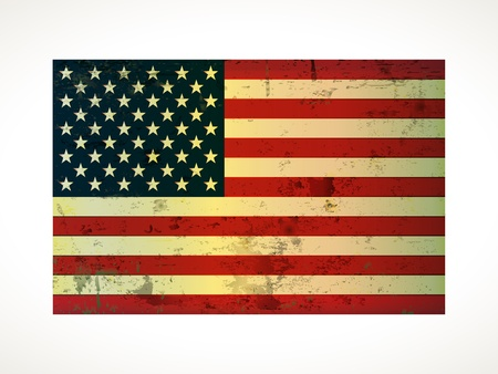 american history: old vintage American flag grunge on paper  Illustration