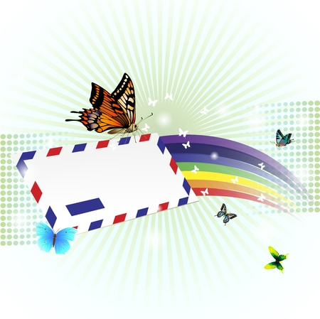 Rainbow background with butterflies and envelope Vector