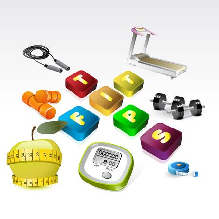 fit tips version of fitness equipment icon set Stock Vector - 13736669