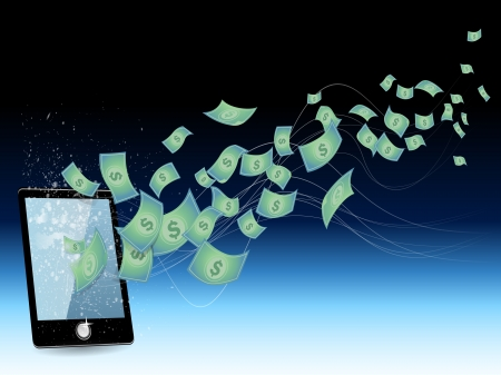 e money: Conceptual image - earnings in the Internet phone