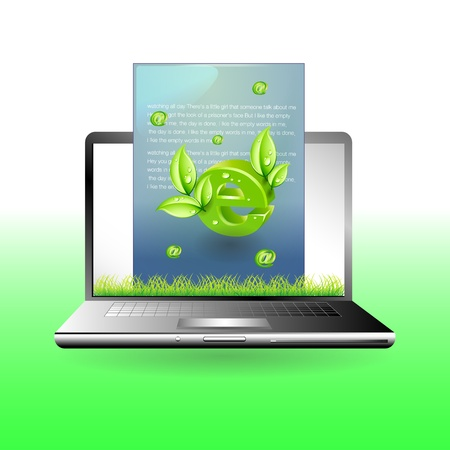 laptop with green mail Environment concept Stock Vector - 13776995