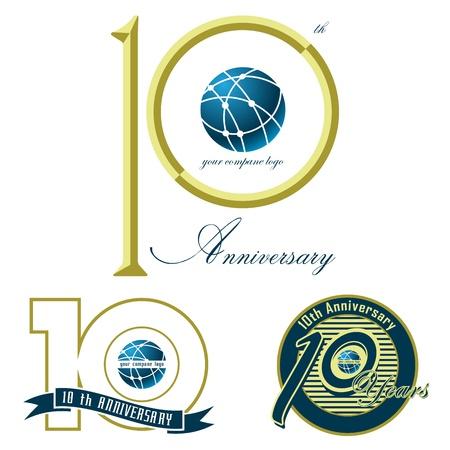 aniversario: un conjunto de dise�o, ilustraci�n d�cimo aniversario de la marca en blanco