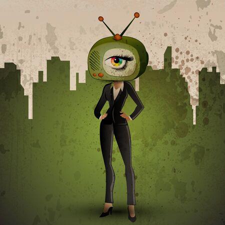 tv screen: Media human or TV human on grunge background Illustration