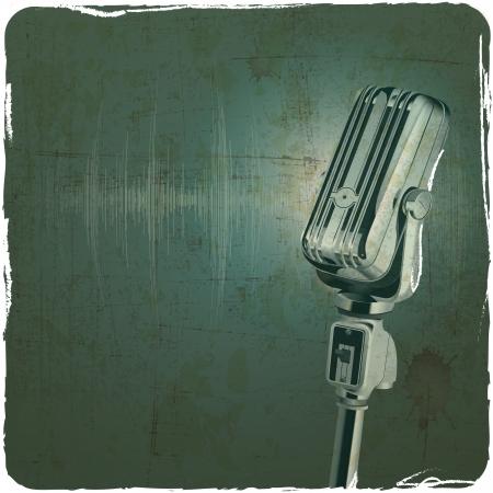 retro disco: Micr�fono retro Fondo del grunge de la vendimia