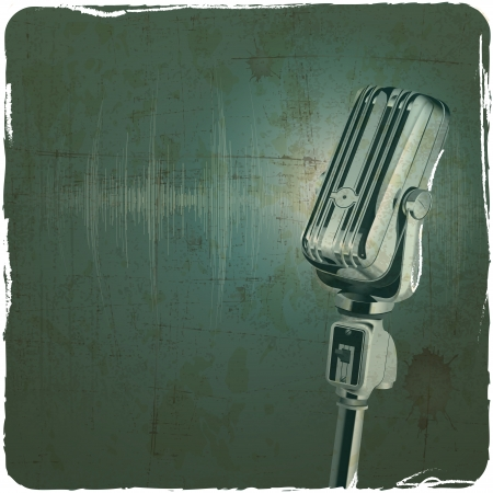 pop singer: Microphone retro vintage grunge background Illustration