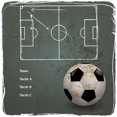 soccer coach: soccer strategy tactic on grunge background