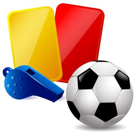 Voetbal, fluitje en rode en gele kaarten