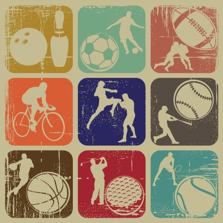 illustration set of sports banners on grunge background Illustration