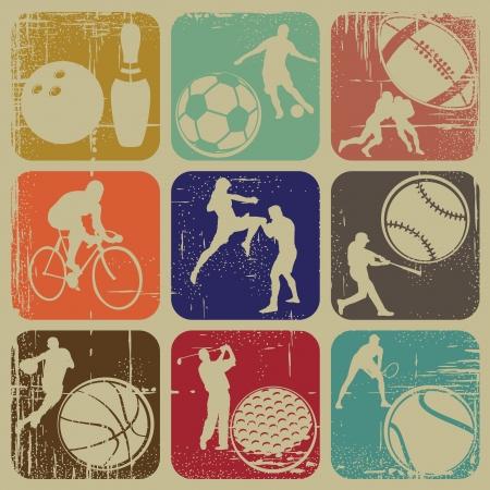illustration set of sports banners on grunge background Vector