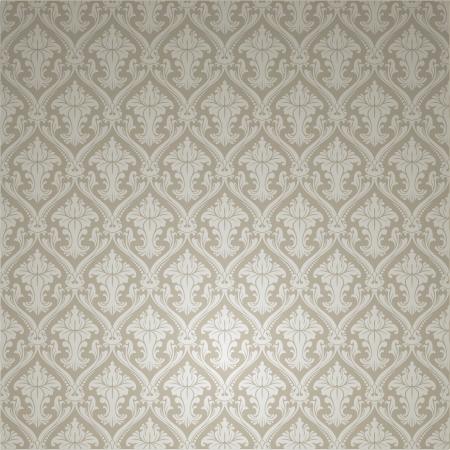 barok ornament: Naadloze Silver behang
