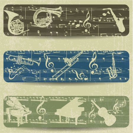 Music banner on grunge background Vector