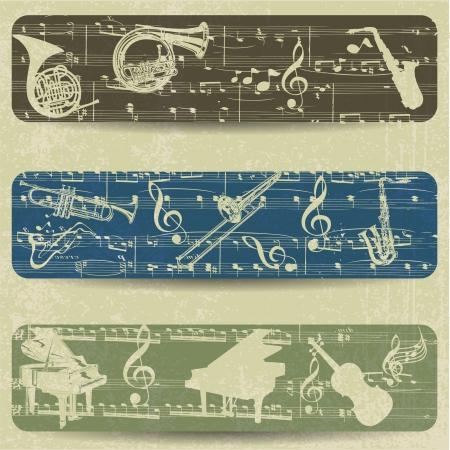 music banner: Muziek banner op grunge achtergrond