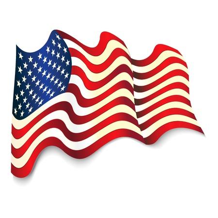 le drapeau des États-Unis d'Amérique isolé sur blanc Vecteurs