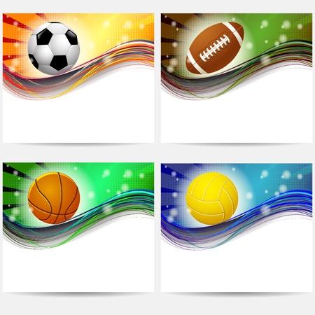 sport equipment banners basketball, football, volleyball