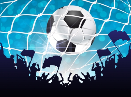 soccer stadium: Silhouettes of fans celebrating a goal on football ,soccer match Illustration
