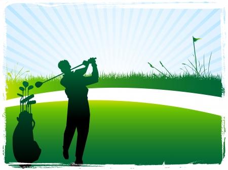Illustration of green golf banner  flag glof bag golfer