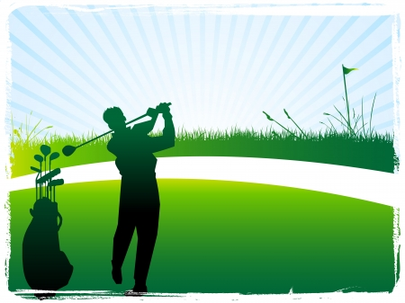 play golf: Illustration of green golf banner  flag glof bag golfer