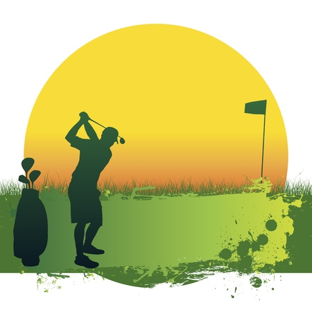 club scene: Illustration of green golf and sun banner flag glof bag golfer