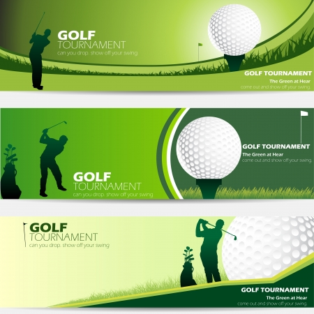 golfing: golftoernooi groene banner set met een kopie ruimte Stock Illustratie