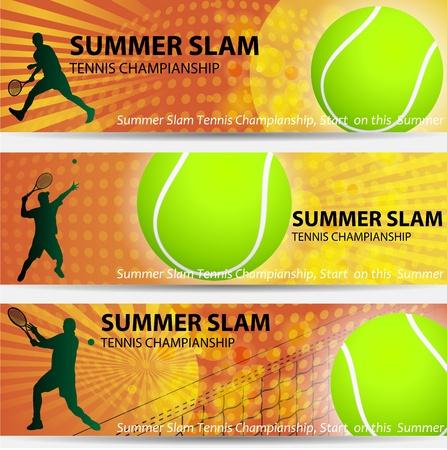 slam: tennis championship summer slam banner set Illustration