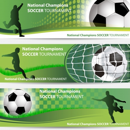 national champions soccer tournament banner set Vector