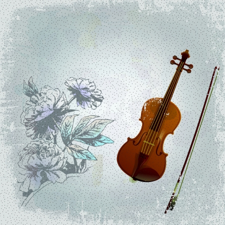 Abstract grunge background with the an old violin Vector