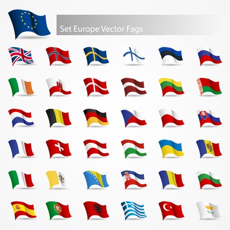 Moving flags set Europe flags on white background Vector
