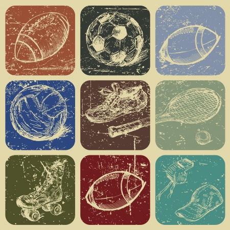 hand drawn set of sports banners on grunge background Vector