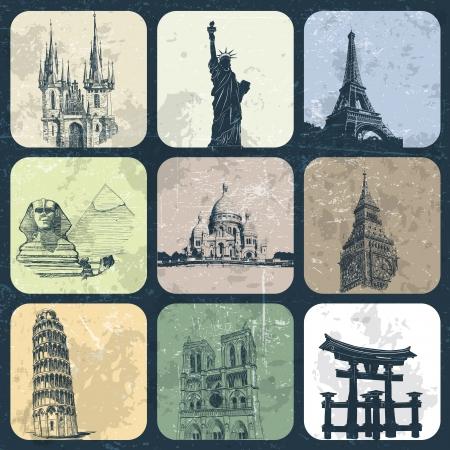 Landmark Europe and Asia on grunge background Illustration