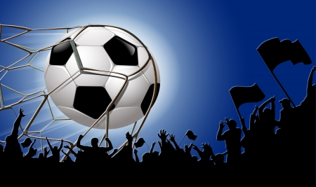 soccer fans: Silhouettes of fans celebrating a goal on football ,soccer match Illustration