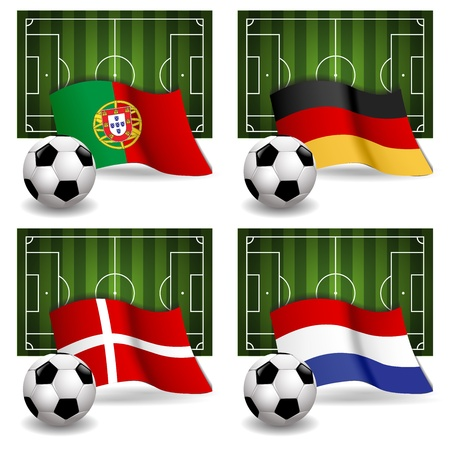 Participating Group B of Europe s biggest soccer competition Vector