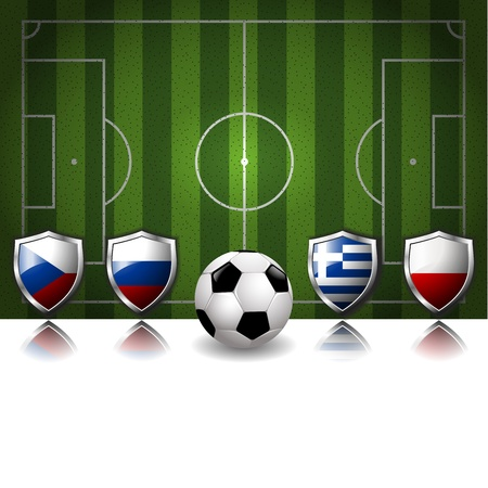 Participating Group A of Europe s biggest soccer competition Vector