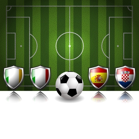 Participating Group C of Europe s biggest soccer competition Vector