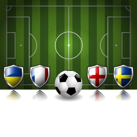 Participating Group D of Europe s biggest soccer competition Vector