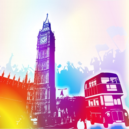 england politics: colorful background of Big Ben and London bus