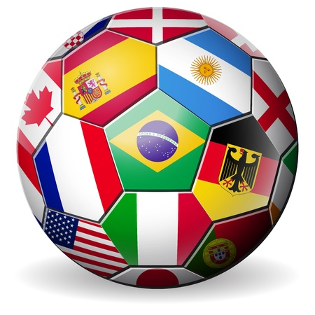 football soccer with world teams flags brazil world cup 2014  Illustration