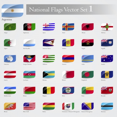 Vector National Flags of the world emboss and round corner set 1 Vector