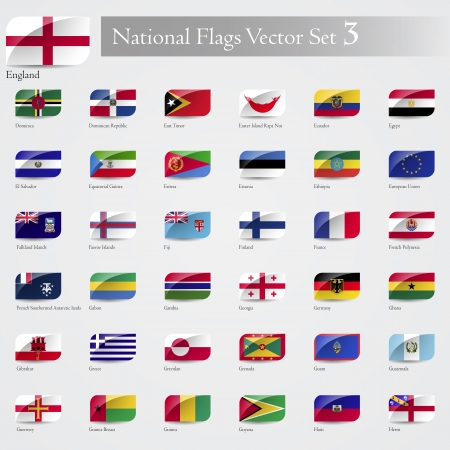 Vector National Flags of the world emboss and round corner set 3