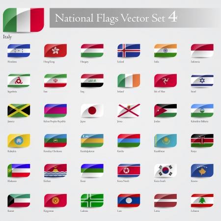 Las banderas nacionales del mundo en relieve y alrededor de conjunto de esquina 4