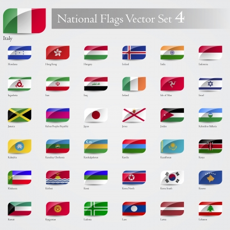 National Flags of the world emboss and round corner set 4 Vector