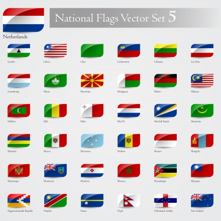 National Flags of the world emboss and round corner set 5 Vector