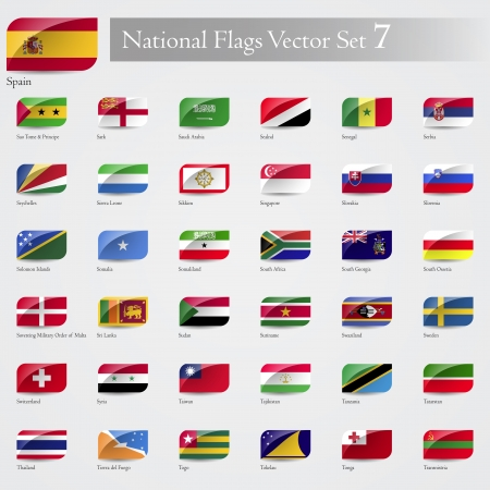 National Flags of the world emboss and round corner set 7