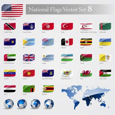 National Flags of the world emboss and round corner set 8 Vector
