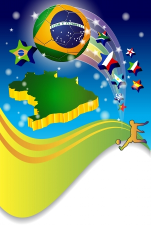 Poster Brazil 2014 soccer Football Vector