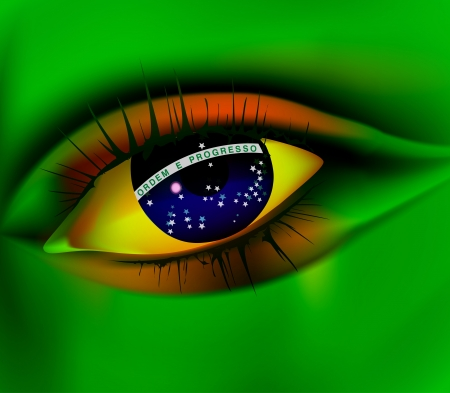 Eye of Brazil concept Brazil world cup 2014 Stock Vector - 14126166