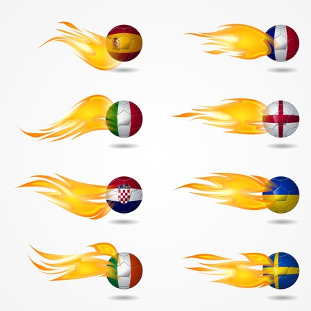 Ball Europe soccer with fire burning at tail Stock Vector - 14126170