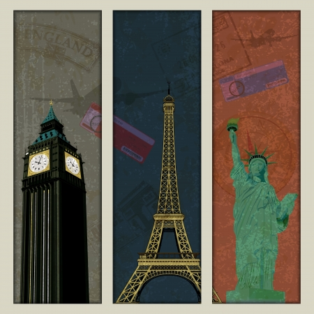 travel collage: illustration of famous monument in travel collage background Illustration