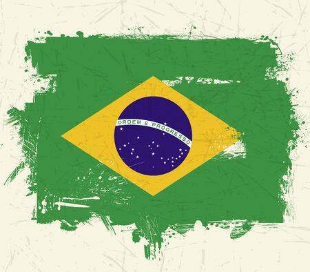 vintage old Brazil flag grunge on white background
